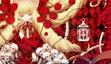 Light blondes skulls dress long hair red eyes HD wallpaper