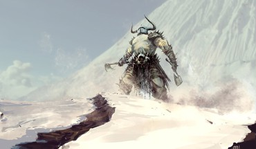 Snow barbarian axes HD wallpaper