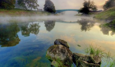 Water steam landscapes nature stones reservoir morning arch HD wallpaper