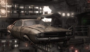 Dodge challenger artwork cityscapes flying futuristic HD wallpaper