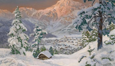 Mountains snow trees artistic houses drawings villages HD wallpaper