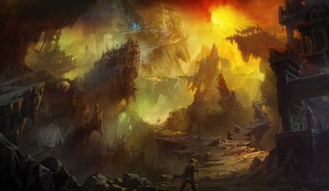 Shuxing li artwork cityscapes fantasy art ruins HD wallpaper