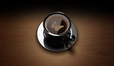 Black brown butterflies coffee HD wallpaper