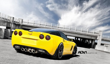 Corvette z06 yellow adv 1 adv1 wheels HD wallpaper