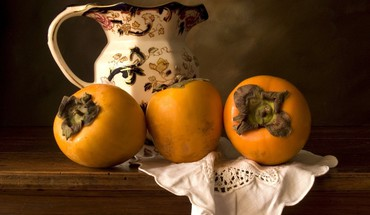 Jug persimmons fruits still life HD wallpaper
