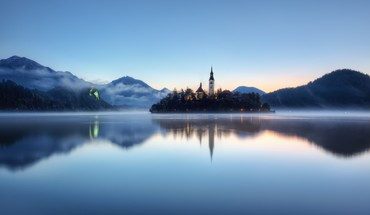 Slovenia churches fog forests hills HD wallpaper