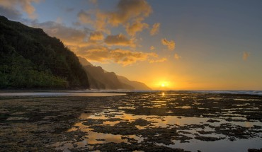 Kee beach sunset na pali coast kauai hawaii HD wallpaper
