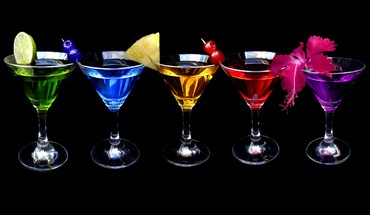 Dark multicolor fruits spectrum martini drinks black background HD wallpaper