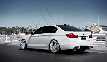 Bmw 5 series boats cars ocean HD wallpaper