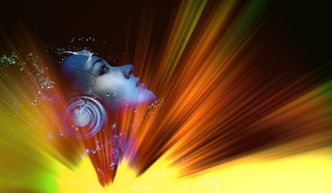 Light women abstract music headphones girl HD wallpaper