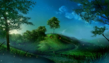Fireflies artwork fictional landscapes shire bag end HD wallpaper