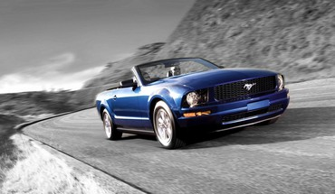 Ford mustang black and white blue cars HD wallpaper