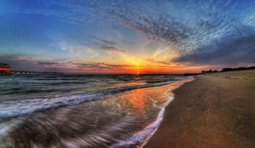 Beaches landscapes sunset waves HD wallpaper