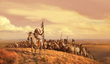 Indians artwork horses landscapes leader HD wallpaper