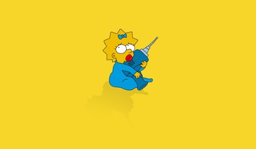 Minimalistic babies the simpsons maggie simpson yellow background HD wallpaper
