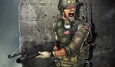 Soldiers guns artwork HD wallpaper