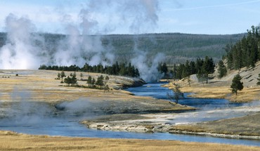 National park wyoming yellowstone geysers HD wallpaper