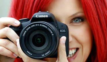 Blue eyes redheads lens cameras canon HD wallpaper