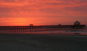 Sunrise folly pier HD wallpaper