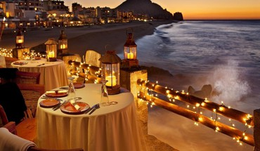 Lights glow dusk dinner breeze evening exotic HD wallpaper