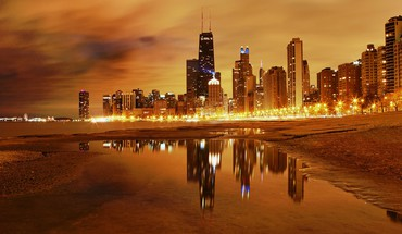 Chicago skyline de nuit  HD wallpaper