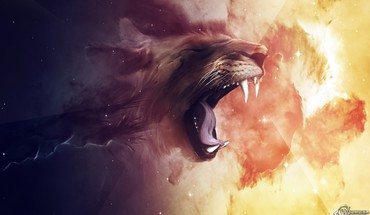 Fantasy lion face HD wallpaper