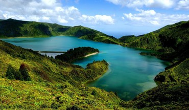 Azores hills islands lakes landscapes HD wallpaper