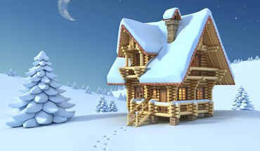 Winter house HD wallpaper