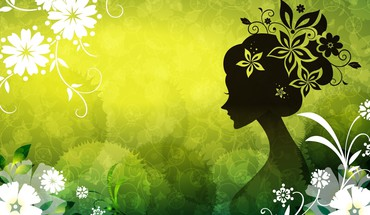 Digital art floral silhouettes HD wallpaper