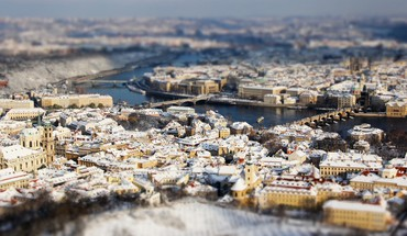 Prague cityscapes tiltshift HD wallpaper