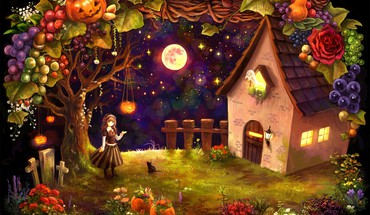 Halloween cottage HD wallpaper
