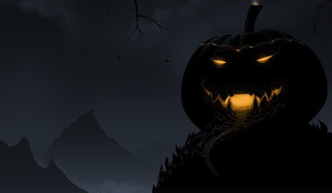 Black halloween pumpkin HD wallpaper