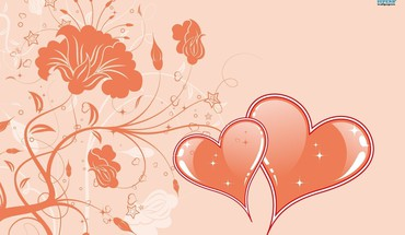 Hearts flowers HD wallpaper