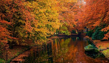 Water forest autumn HD wallpaper