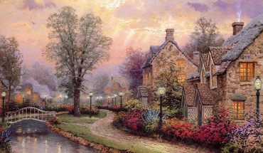 Artwork houses HD wallpaper