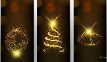 Golden christmas bright HD wallpaper