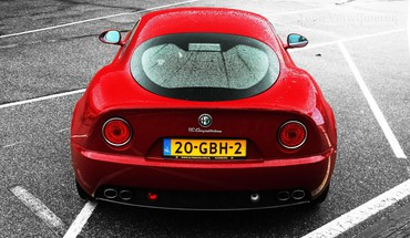 Red alfa romeo 8c competizione italian cars HD wallpaper
