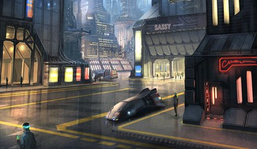 Cities street futuristic city christophorus pi hatchenson HD wallpaper
