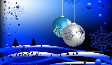 White christmas in blue colors HD wallpaper