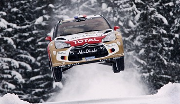 Loeb world championship car jump citroën ds3 HD wallpaper