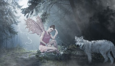 Fairy and wolf HD wallpaper