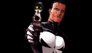 Punisher fond noir Castle Frank pointing gun  HD wallpaper