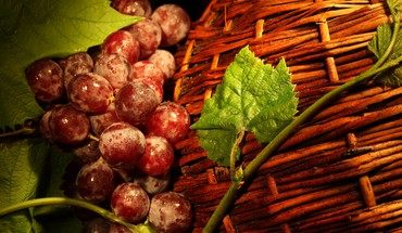 Basket and grapes HD wallpaper