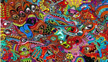 Psychedelic faces HD wallpaper