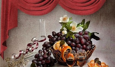 Fruit and wine HD wallpaper