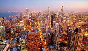 Chicago cityscapes dawn skyscrapers HD wallpaper