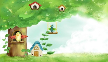 Summer birds birdhouses HD wallpaper