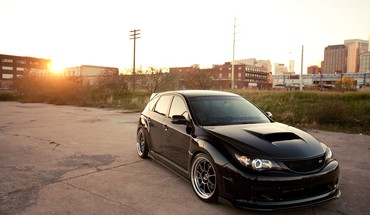 Subaru impreza black cars cityscapes HD wallpaper