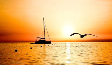 silhouette Bateau sunset  HD wallpaper