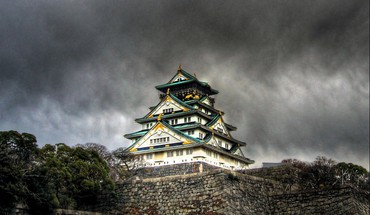 Japan castles storm osaka church skyscapes HD wallpaper
